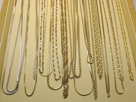 Łańcuszki złote w różnych wzorach